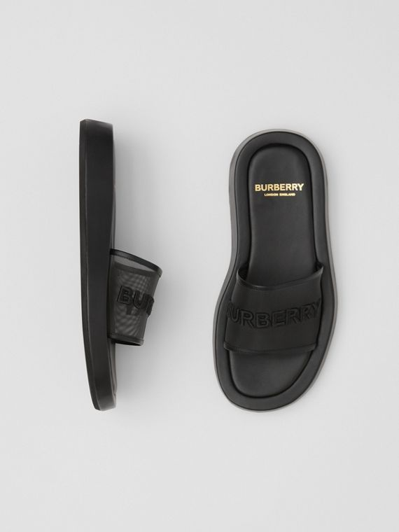 Embroidered Logo Mesh and Leather Slides in Black