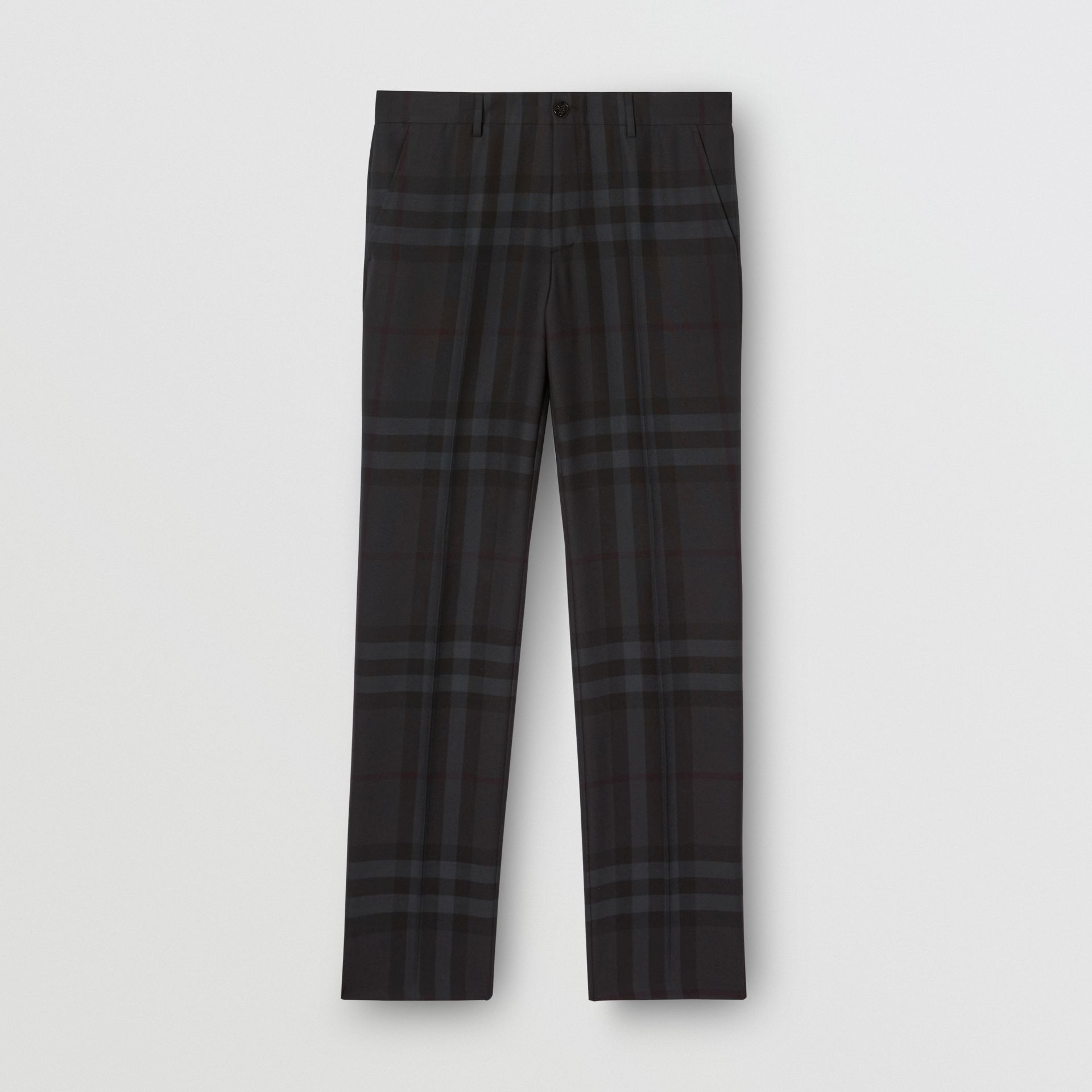 Classic Fit Check Wool Tailored Trousers in Charcoal - Men | Burberry - gallery image 3