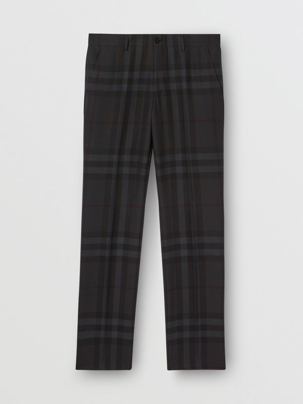 Classic Fit Check Wool Tailored Trousers in Charcoal - Men | Burberry - cell image 3