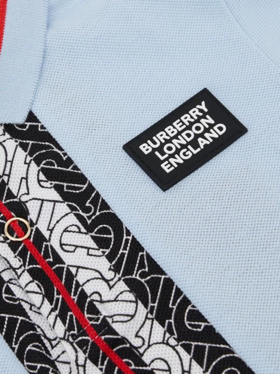 Monogram Stripe Print Cotton Piqué Polo Shirt in Pale Blue   Burberry Hong Kong S.A.R - cell image 1