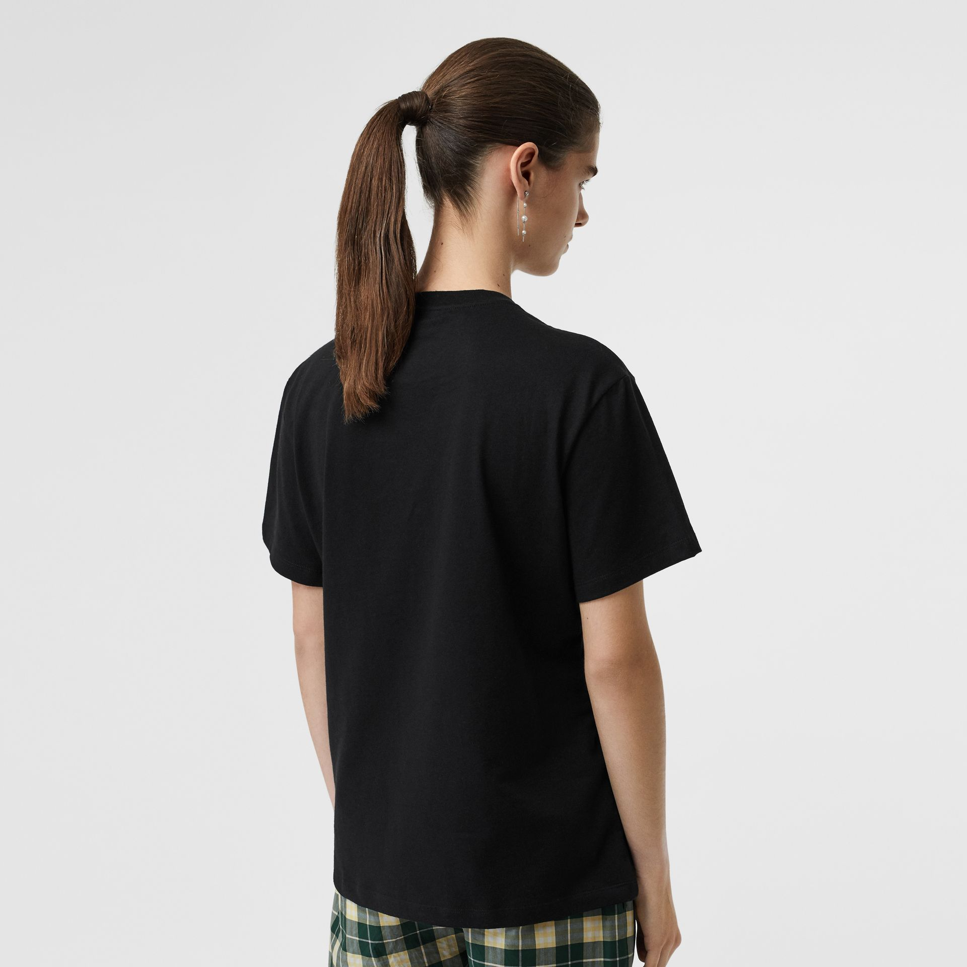 Embroidered Check Logo Cotton T-shirt in Black - Women | Burberry - gallery image 2
