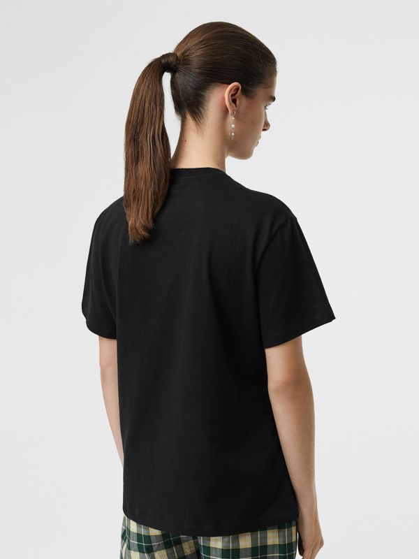 Embroidered Check Logo Cotton T-shirt in Black - Women | Burberry - cell image 2