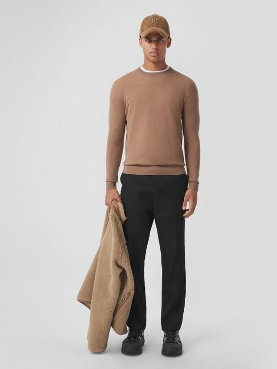 Monogram Motif Cashmere Sweater in Camel