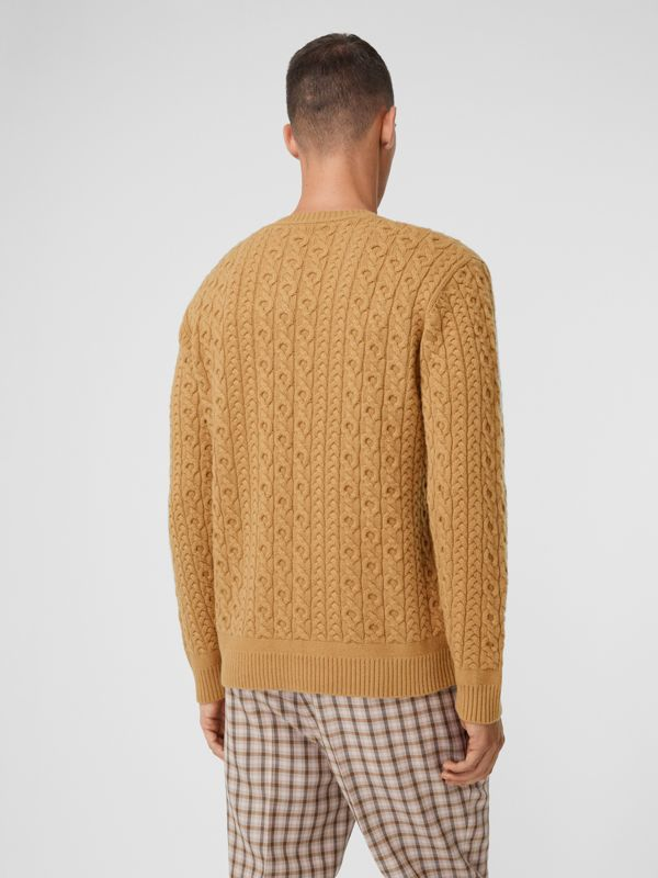 Cable Knit Wool Cashmere Sweater in Camel - Men | Burberry - cell image 2
