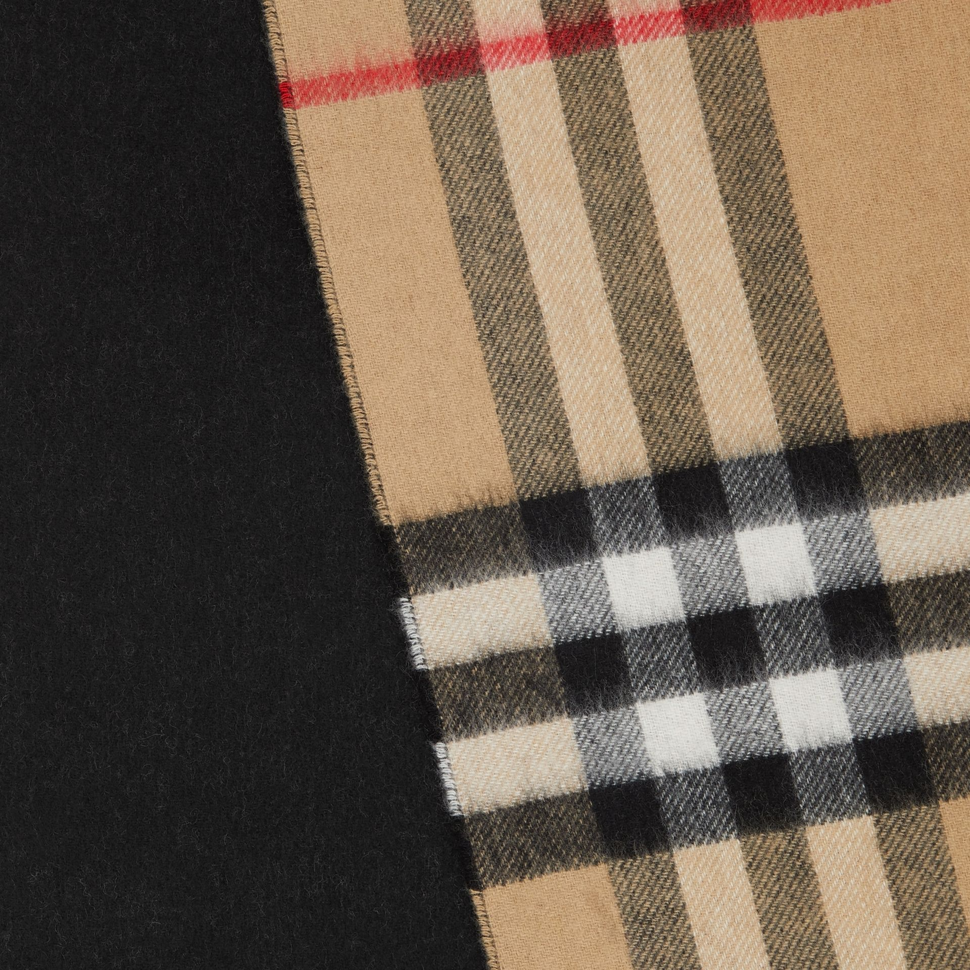 Reversible Check Cashmere Scarf in Black | Burberry - gallery image 1