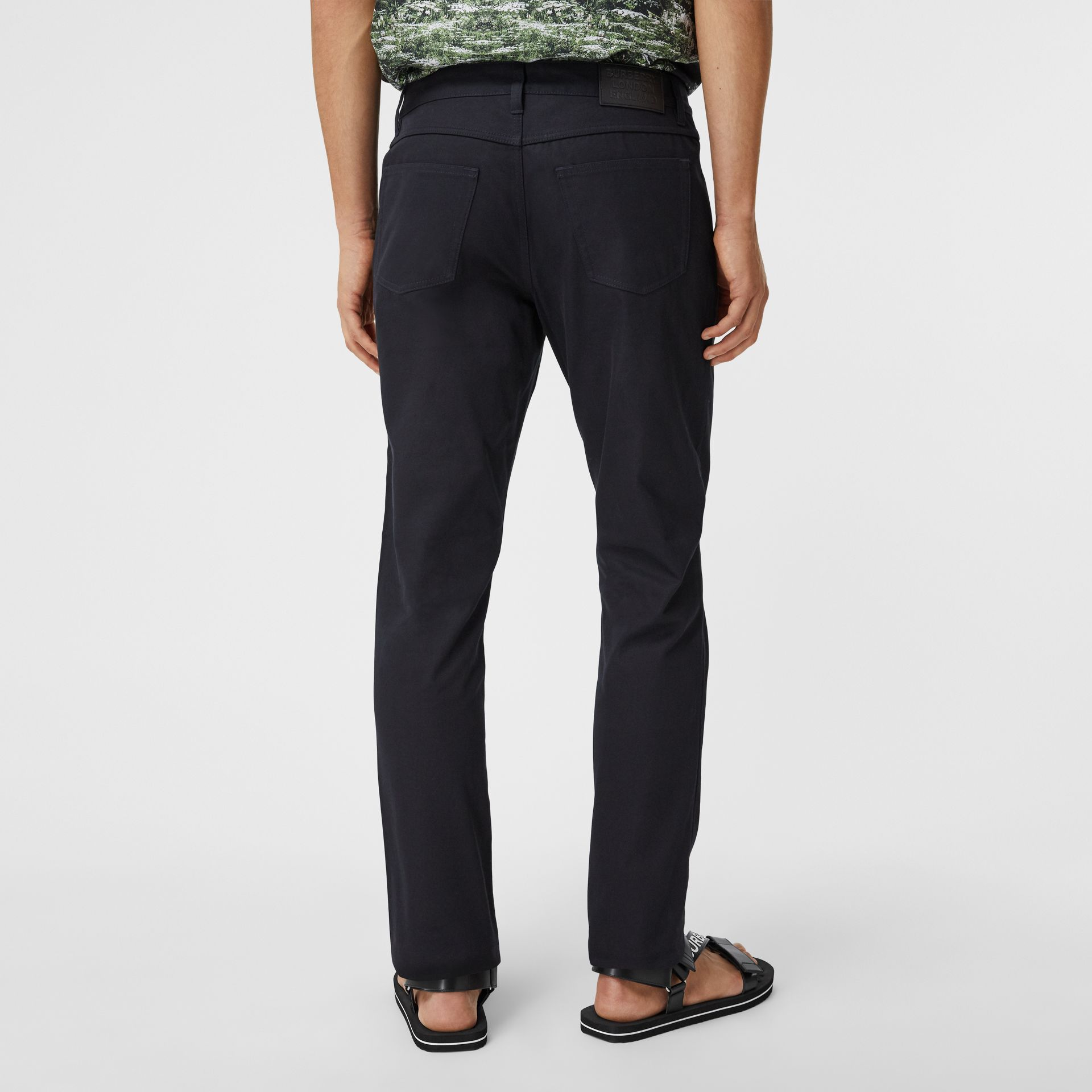 Slim Fit Cotton Chinos in Navy - Men | Burberry - gallery image 2
