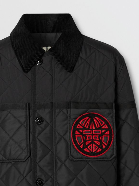 Varsity Graphic Diamond Quilted Barn Jacket in Black - Men | Burberry Canada - cell image 1