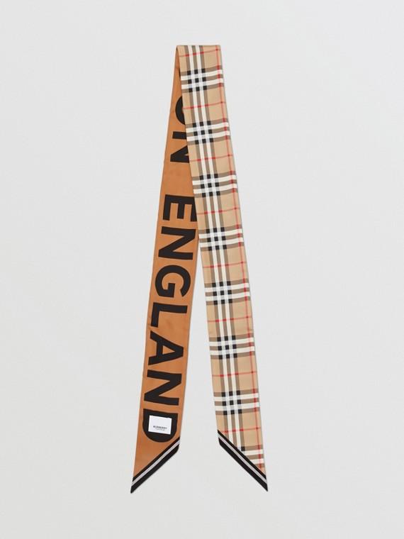 Узкий шарф в клетку с логотипом (Винтажный Бежевый)