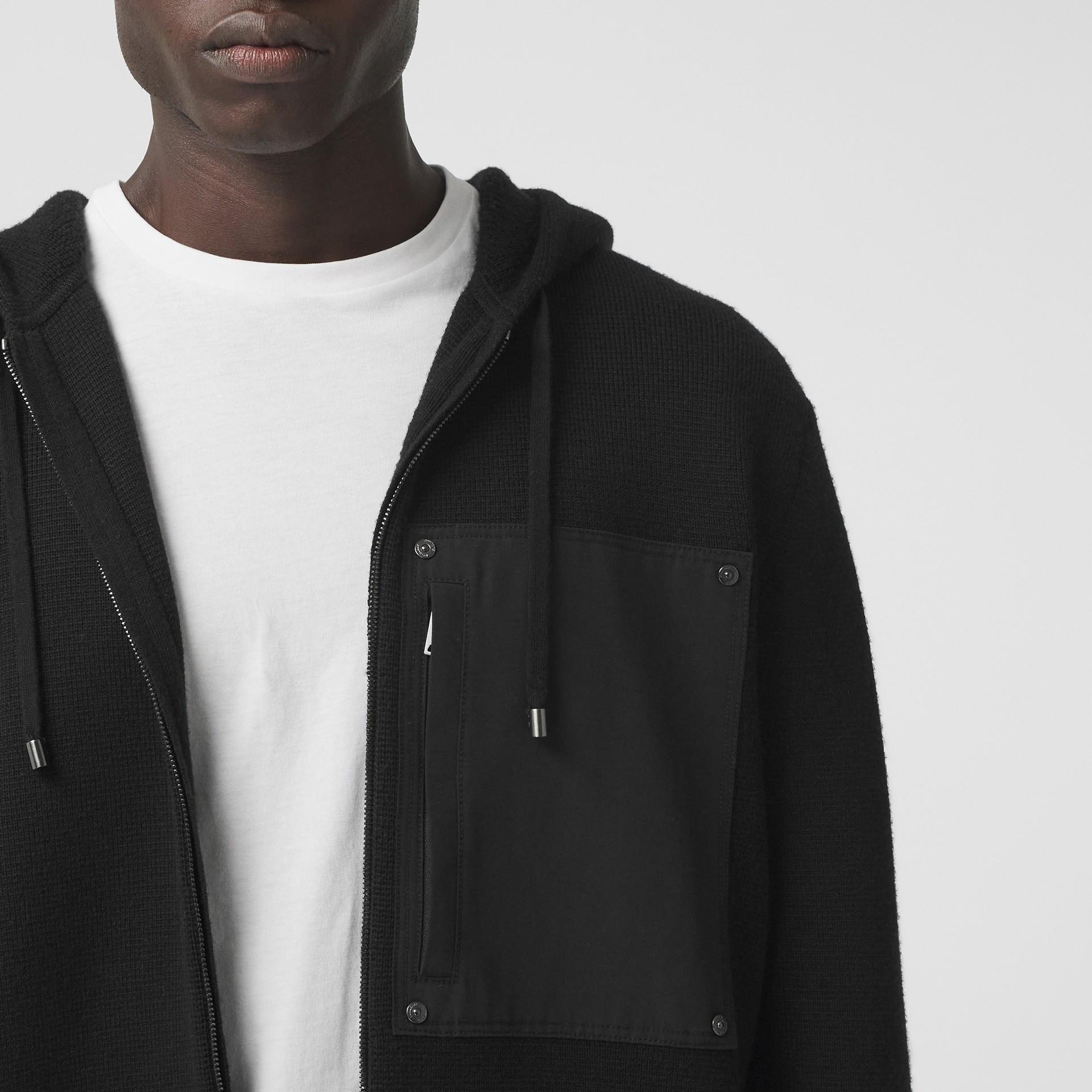 Contrast Pocket Wool Hooded Top in Black - Men | Burberry - gallery image 1
