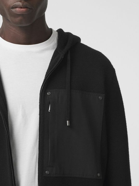 Contrast Pocket Wool Hooded Top in Black - Men | Burberry - cell image 1