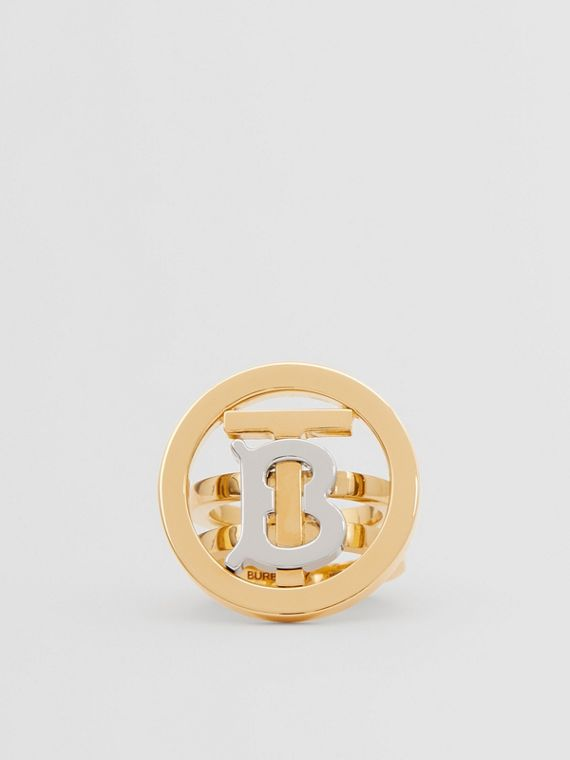 Gold and Palladium-plated Monogram Motif Ring in Light