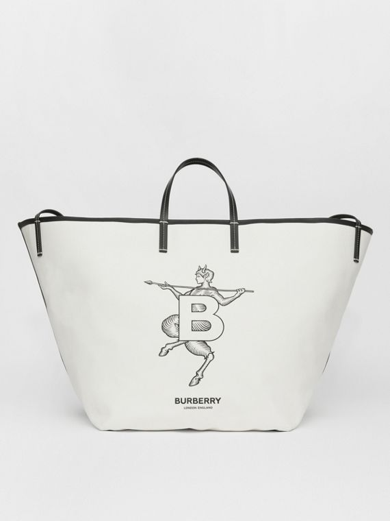 Extra Large Mythical Alphabet Canvas Beach Tote in Natural/black