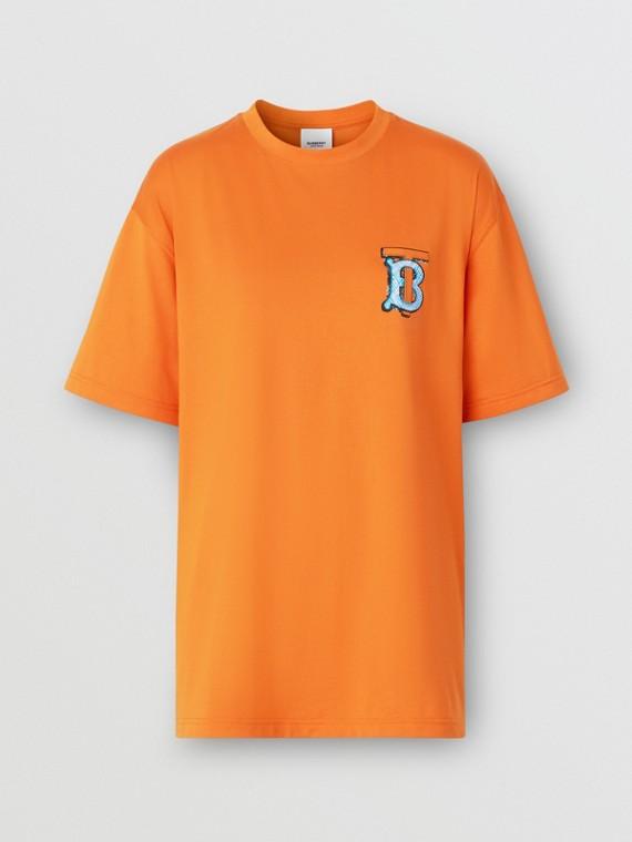 Monogram Motif Cotton T-shirt – Unisex in Bright Orange