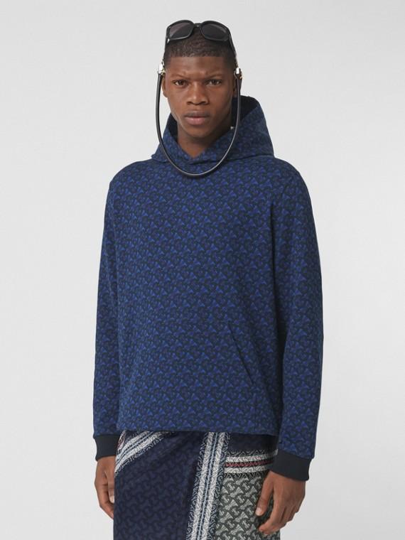 Suéter de algodão com capuz e estampa de monograma (Azul Royal Profundo)