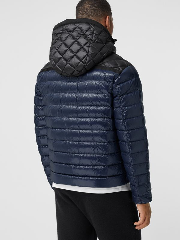 Diamond Quilted Panel Hooded Puffer Jacket in Midnight - Men | Burberry - cell image 2