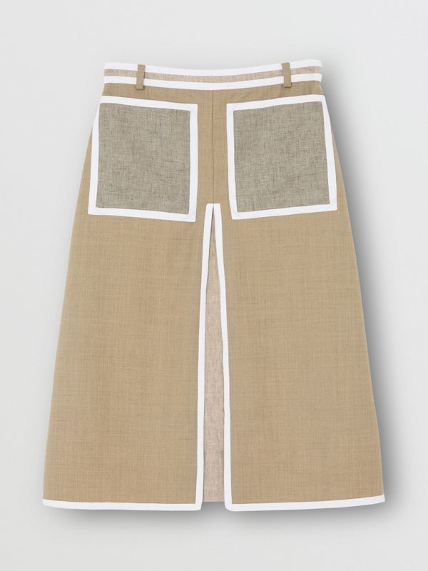 Box-pleat Detail Wool Cashmere A-line Skirt in Pecan Melange - Women | Burberry - cell image 3