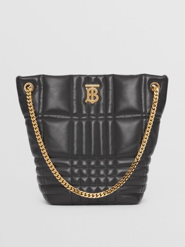Medium Quilted Lambskin Lola Bucket Bag in Black