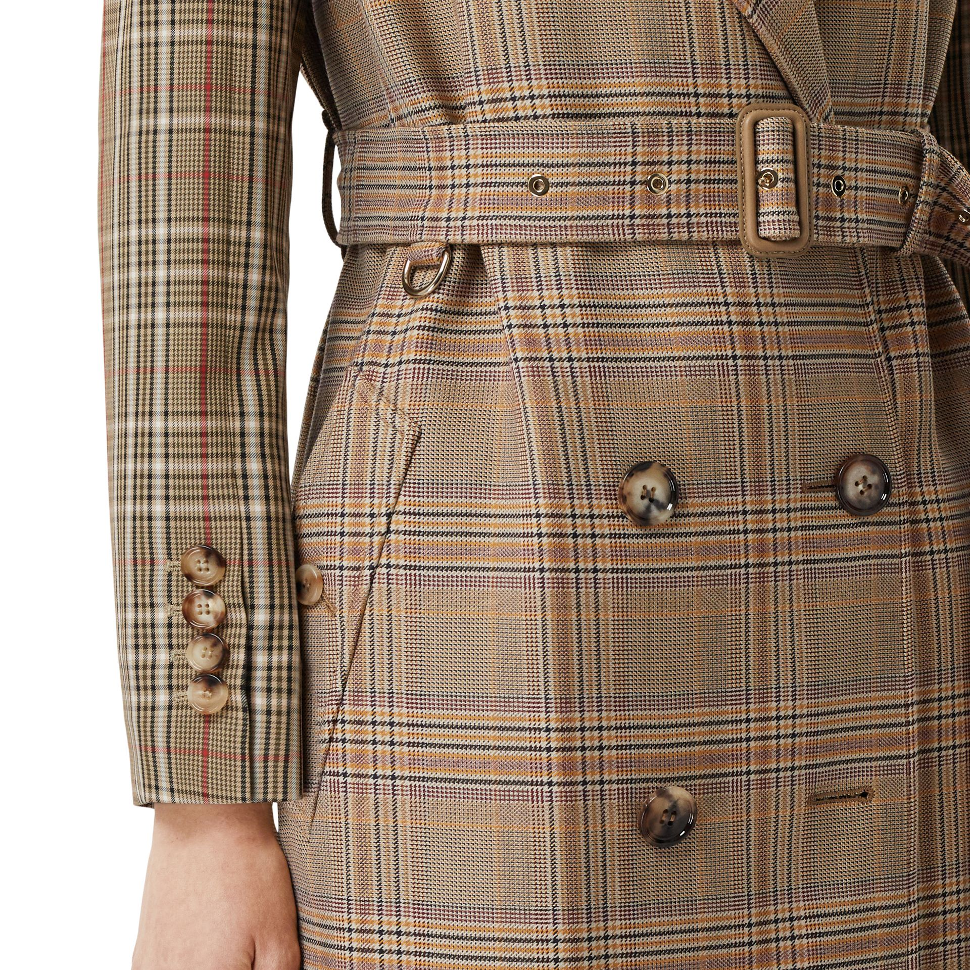 Custom Fit Contrast Check Wool Cotton Trench Coat in Dark Honey - Women | Burberry - gallery image 4