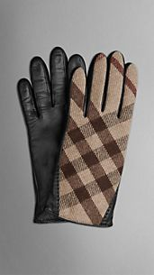 Check Wool Blend Gloves