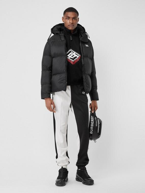モノグラムストライププリント パファージャケット (ブラック)