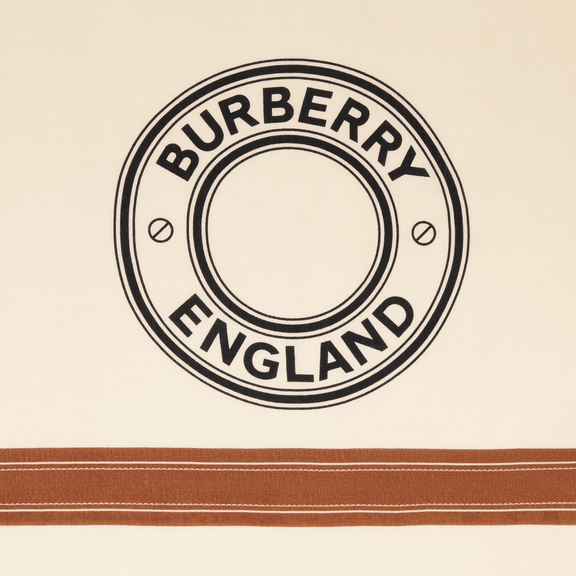 Logo Graphic Lightweight Cashmere Scarf in Natural White | Burberry - gallery image 1
