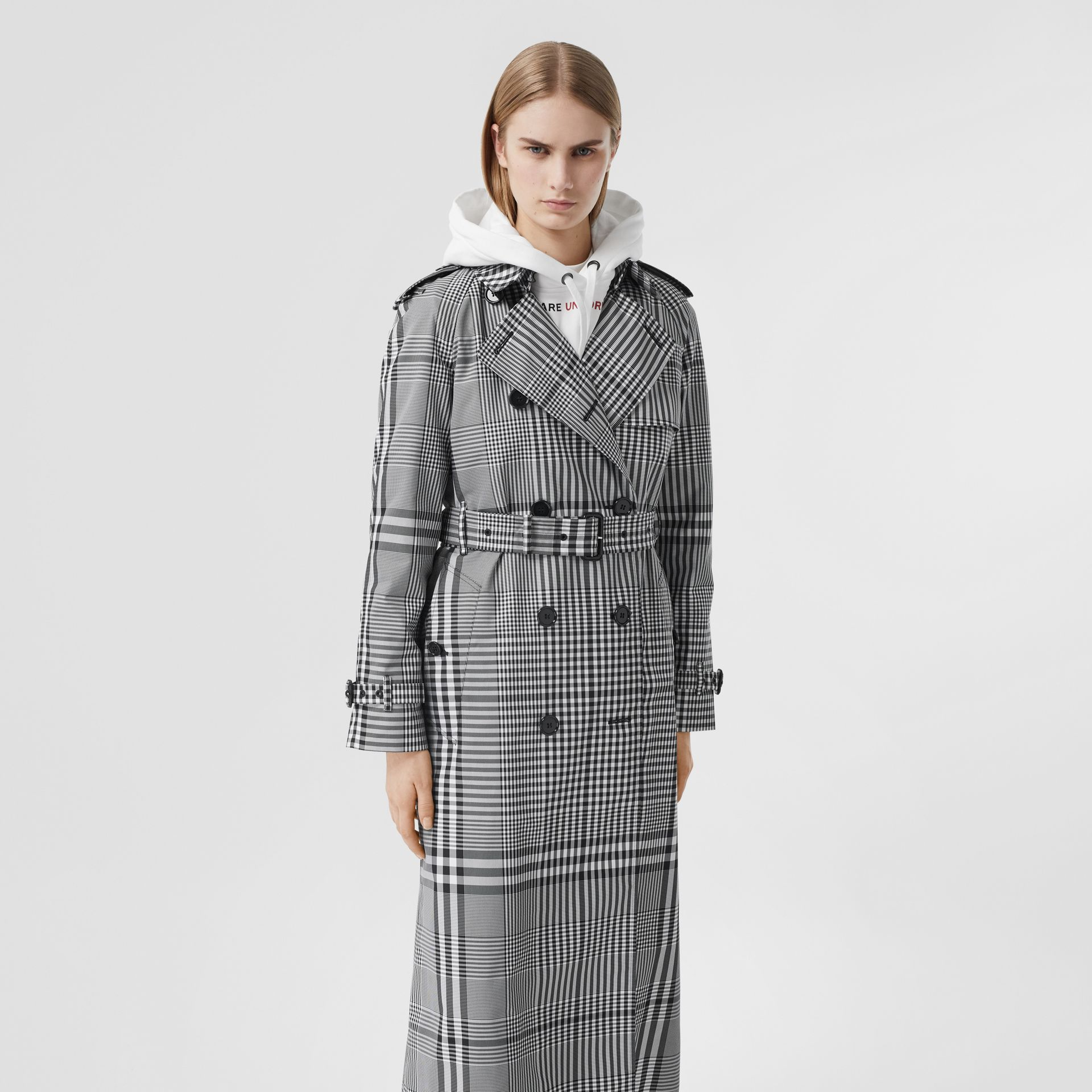 Check Twill Trench Coat in Black/white - Women | Burberry United States - gallery image 5