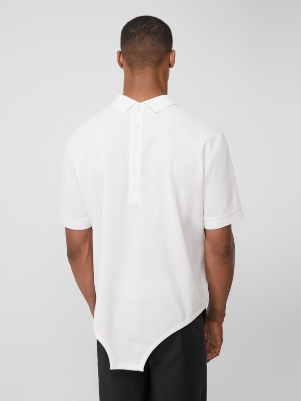 Cut-out Hem Cotton Reconstructed Polo Shirt in Optic White | Burberry Canada - cell image 2