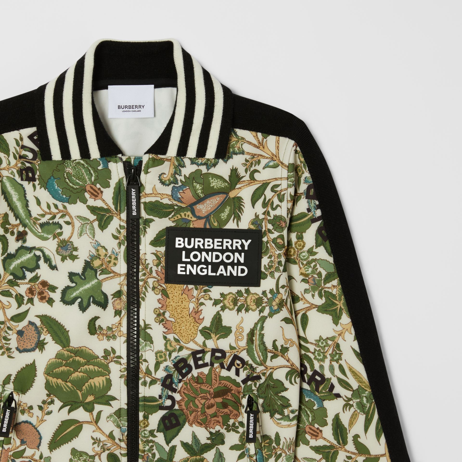 Botanical Print Neoprene Bomber Jacket in Olive | Burberry Hong Kong S.A.R - gallery image 5