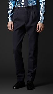 Slim Fit Striped Seersucker Trousers