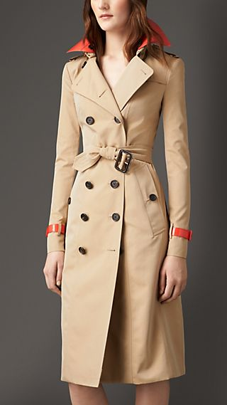 Patent Leather Detail  Gabardine Trench Coat