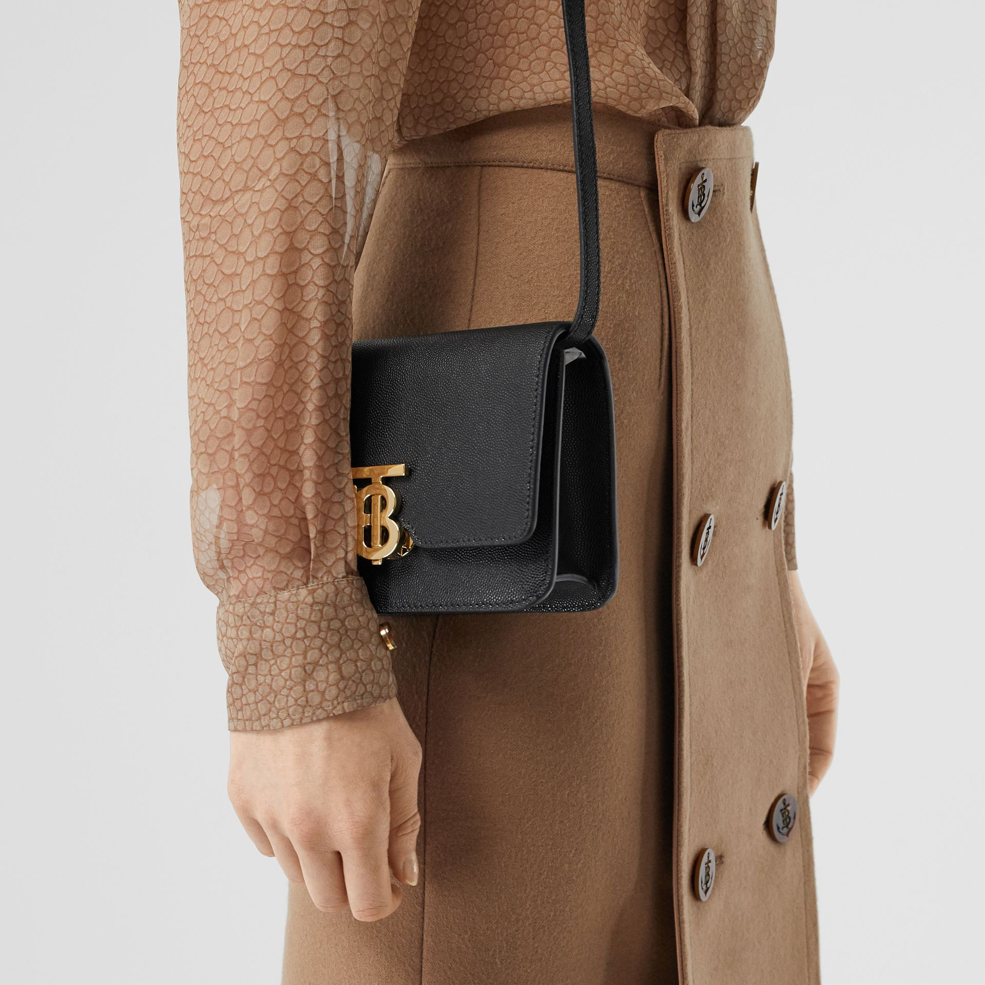 Mini Grainy Leather TB Bag in Black - Women | Burberry - gallery image 8