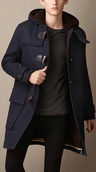Double-Faced Wool Duffle Coat with Shearling Lining