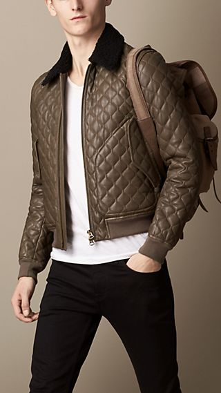 Military Quilt Nappa Leather Blouson