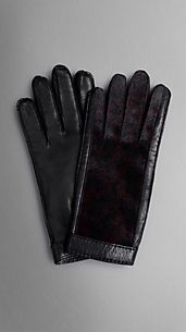 CalfskinPanel Leather Gloves