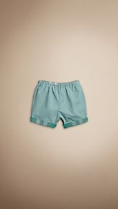 Check Cuff Cotton Shorts