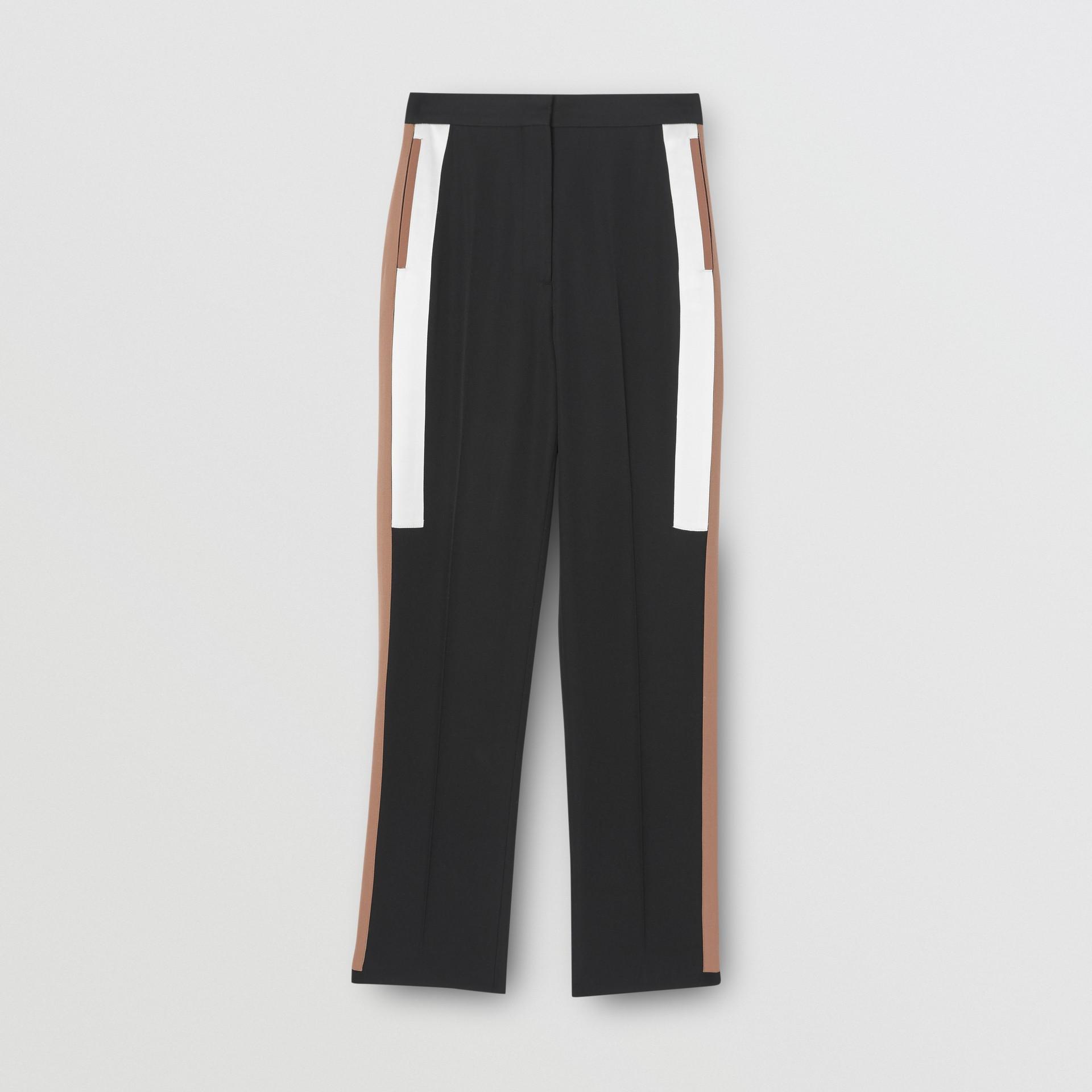 Stripe Detail Wool Tailored Trousers in Black - Women | Burberry United Kingdom - gallery image 3
