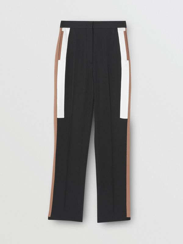 Stripe Detail Wool Tailored Trousers in Black - Women | Burberry - cell image 3