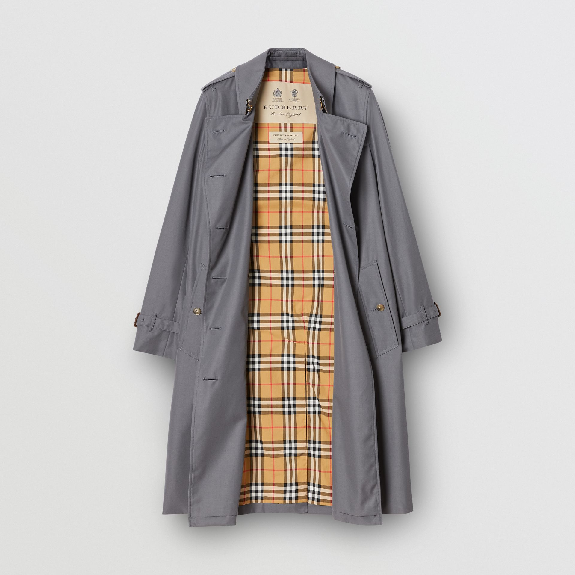 Cotton Gabardine Long Trench Coat in Mid Grey - Women | Burberry United Kingdom - gallery image 3