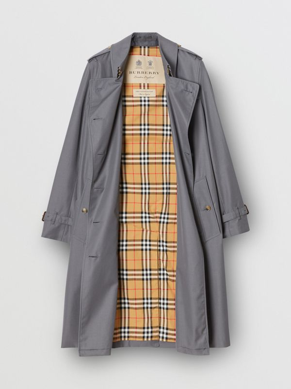 Cotton Gabardine Long Trench Coat in Mid Grey - Women | Burberry - cell image 3
