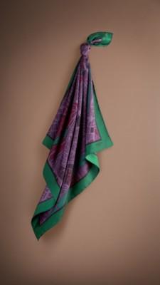 伦敦手绘地图丝质方巾