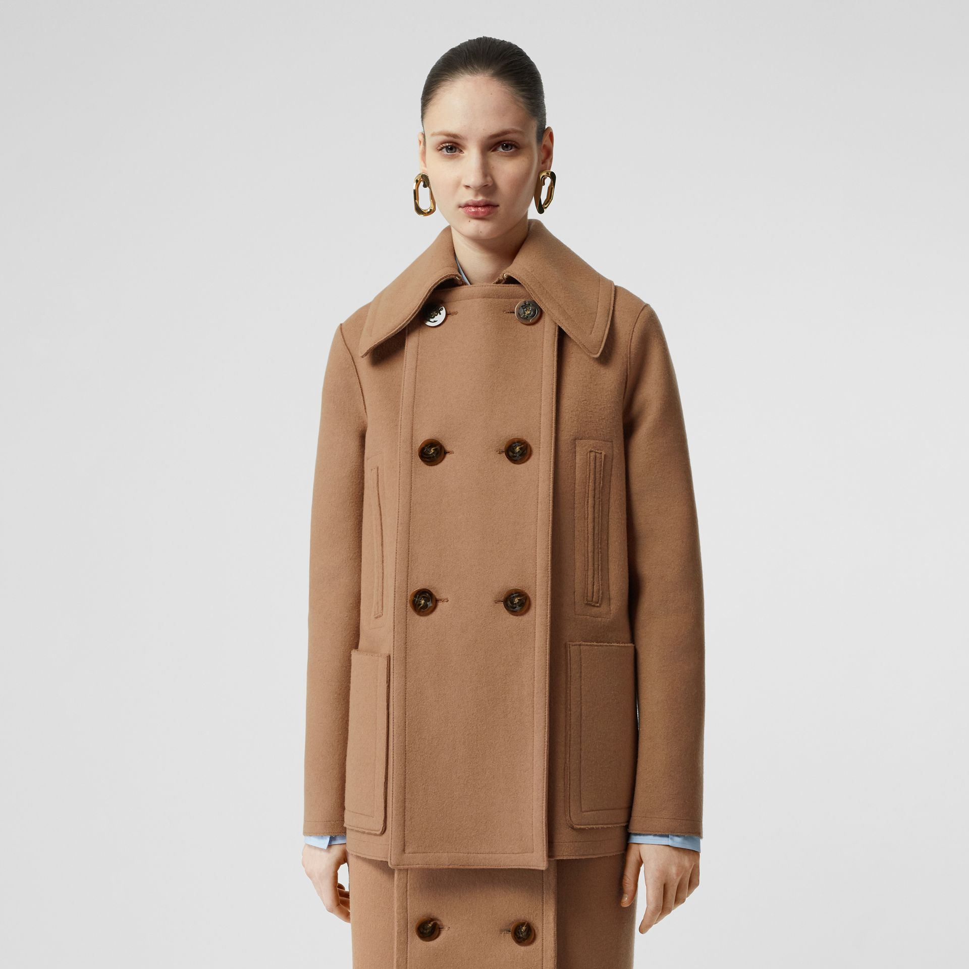 Button Panel Detail Wool Cashmere Pea Coat in Camel - Women | Burberry - gallery image 5