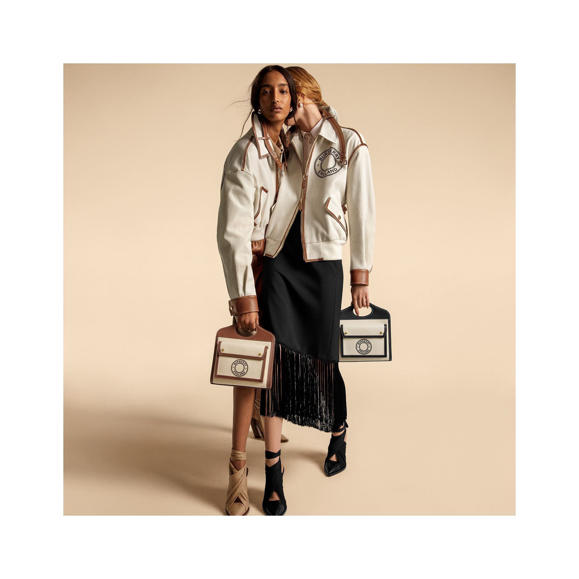 Mini Logo Graphic Canvas and Leather Pocket Bag in Tan - Women | Burberry - gallery image 1
