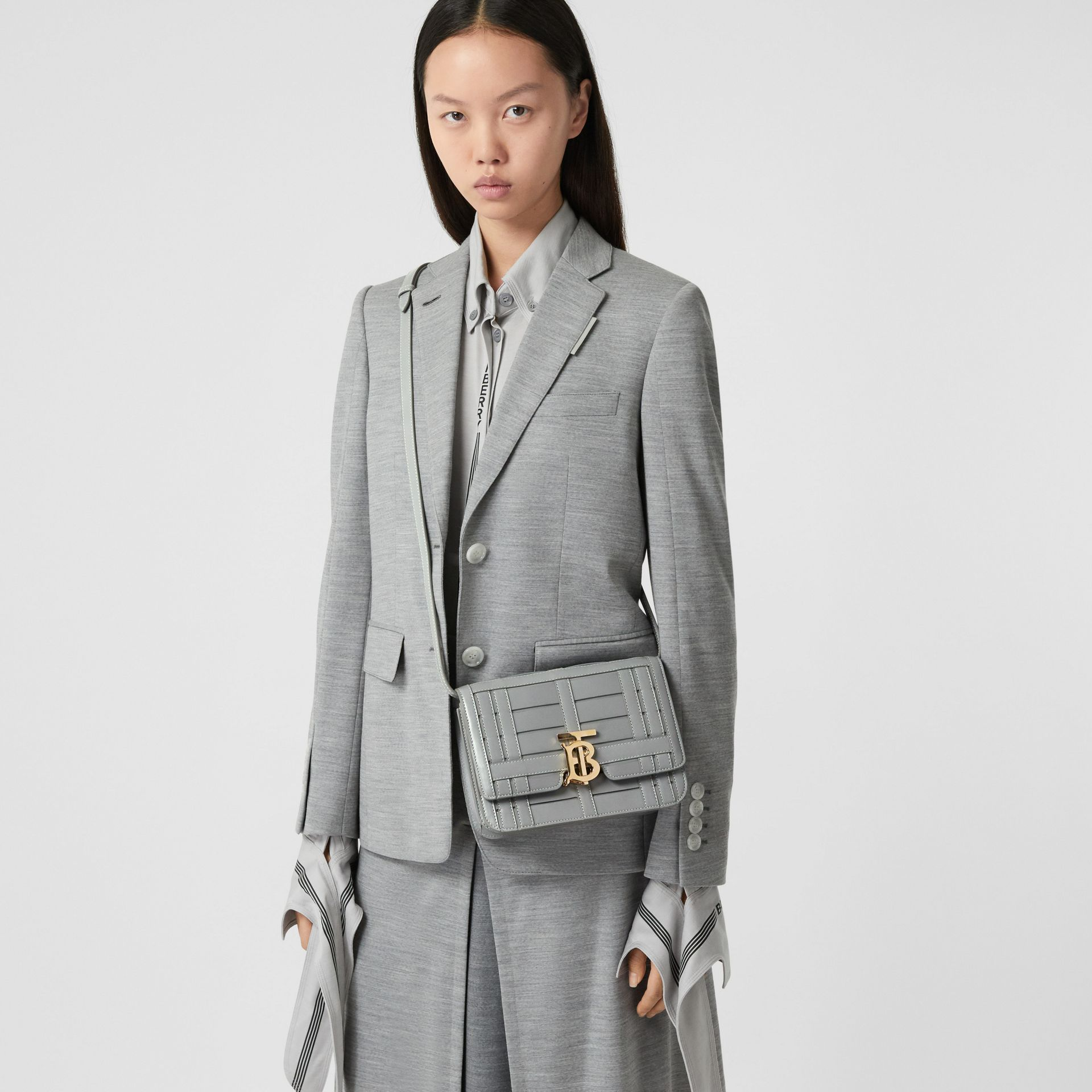 Small Woven Leather TB Bag in Cloud Grey - Women | Burberry - gallery image 2