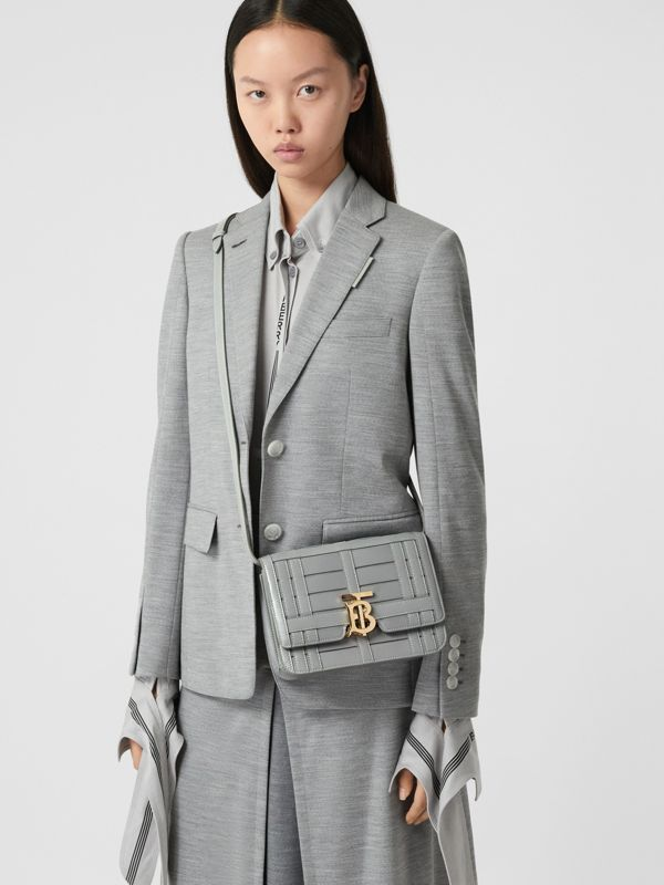 Small Woven Leather TB Bag in Cloud Grey - Women | Burberry - cell image 2