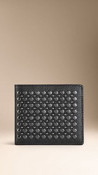 Studded London Leather Folding Wallet
