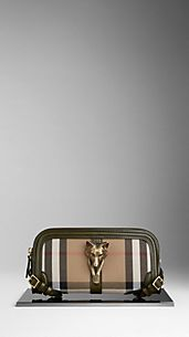 Country-Clutch in House Check mit Tierdetail und Zaumzeugleder