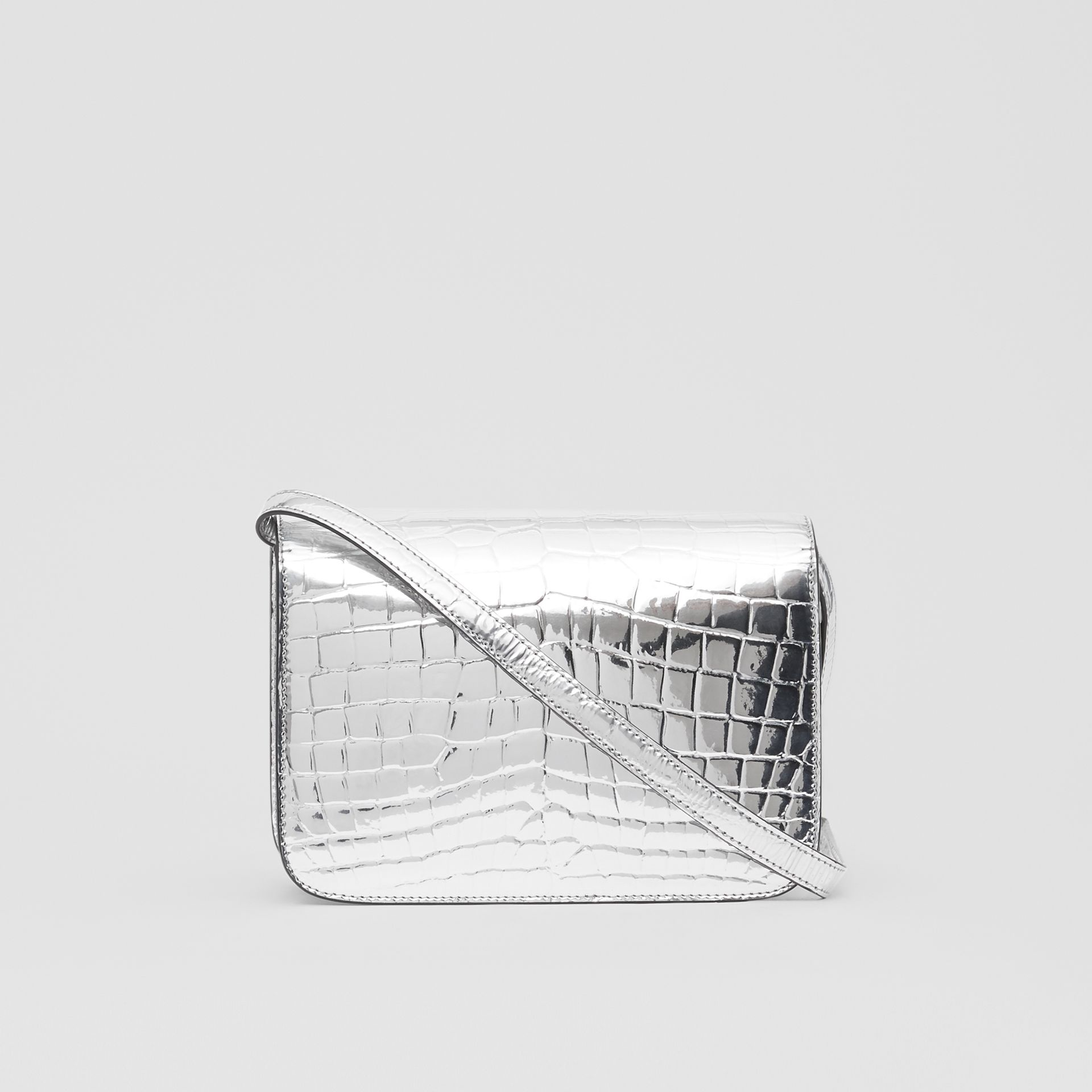 Small Metallic Embossed TB Bag in Silver - Women | Burberry - gallery image 7