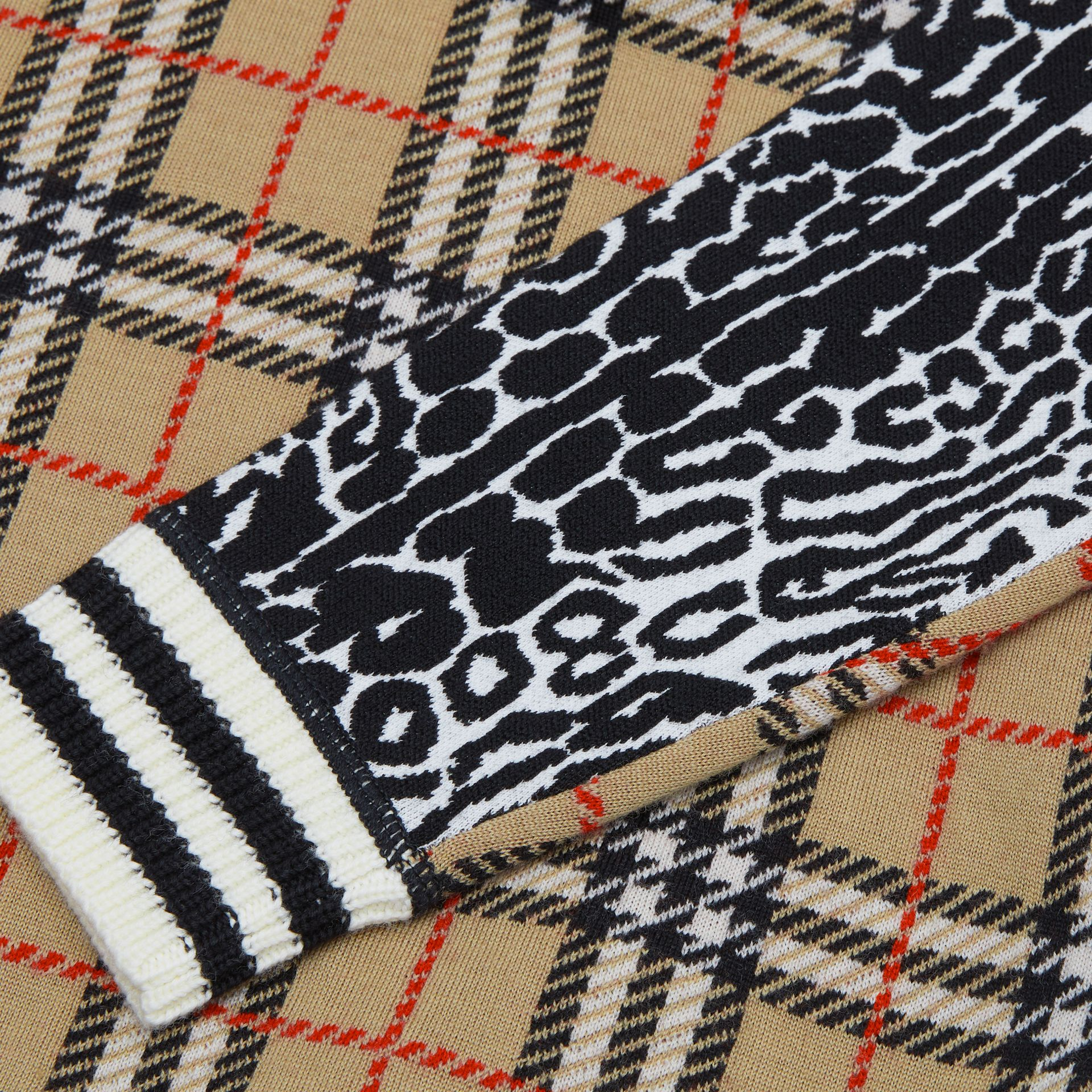 Check and Leopard Merino Wool Jacquard Sweater in Print | Burberry United States - gallery image 1
