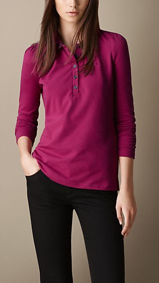 Long Sleeve Check Collar Polo Shirt