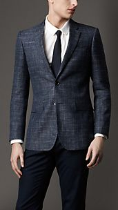 Modern Fit Silk Linen Check Jacket